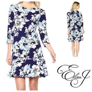 Eliza J Jersey Knit Navy & Blue Floral Dress 16W